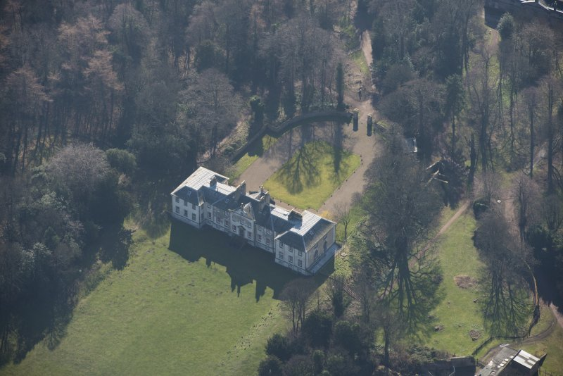 Oblique aerial view of Newhailes House, looking to the SSW.