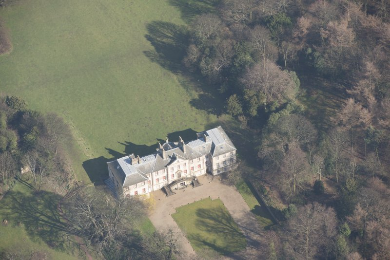 Oblique aerial view of Newhailes House, looking to the ENE.