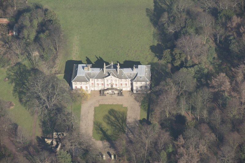 Oblique aerial view of Newhailes House, looking to the NNE.