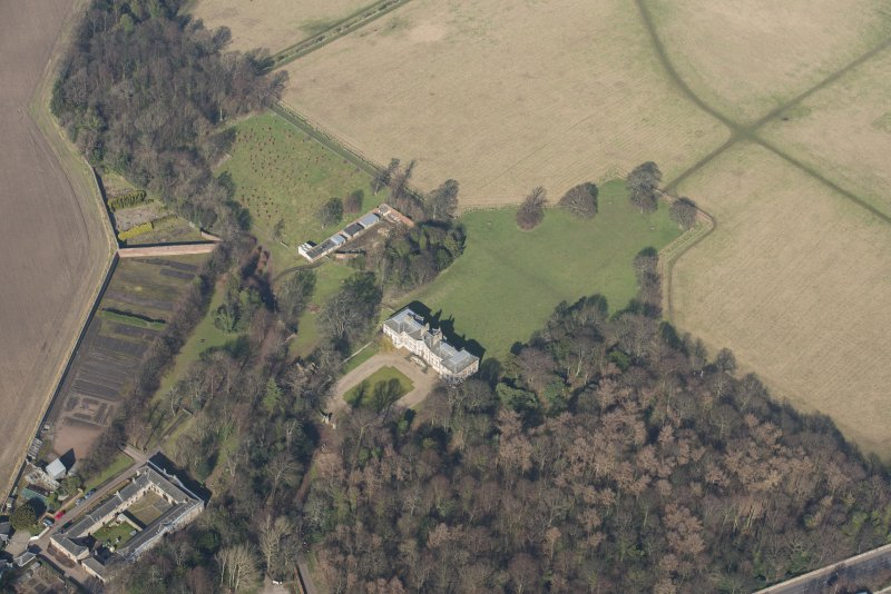 Oblique aerial view of Newhailes House, looking to the N.