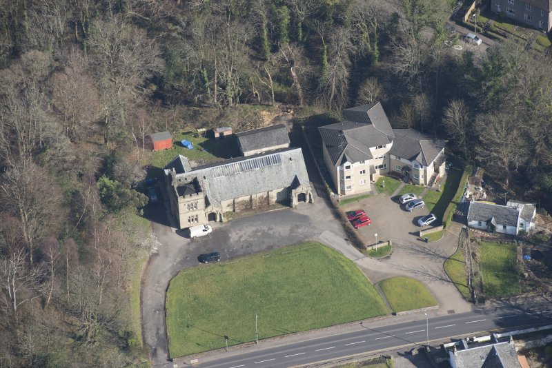 Oblique aerial view of Cardross, Geilston Hall and Drill Hall looking NE.