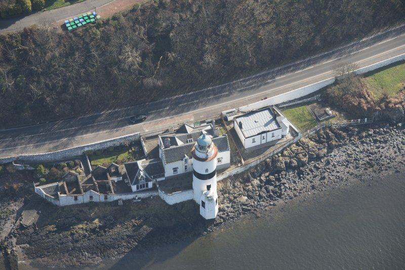 Oblique aerial view of Cloch Lighthouse, looking to the ESE.