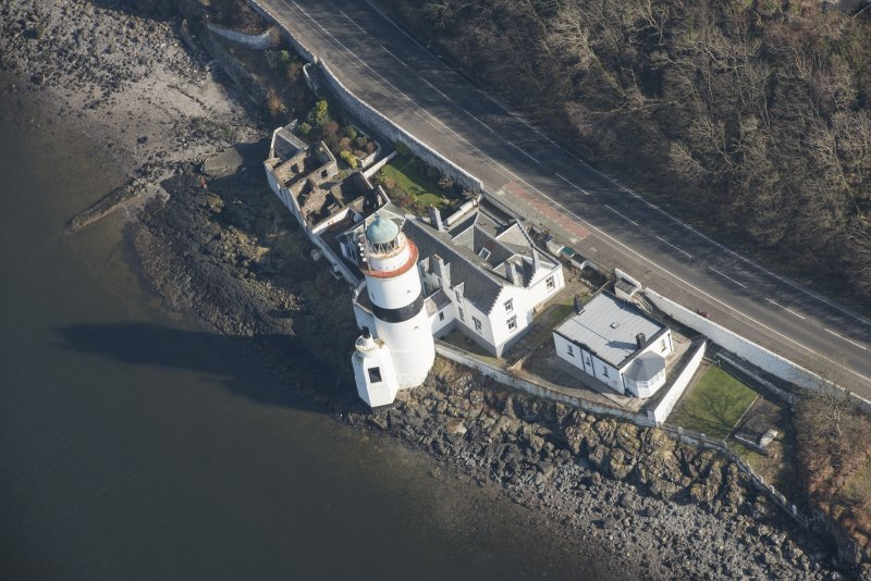 Oblique aerial view of Cloch Lighthouse, looking to the ENE.