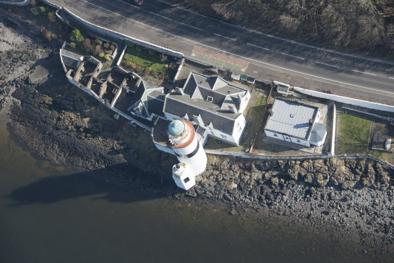 Oblique aerial view of Cloch Lighthouse, looking to the E.