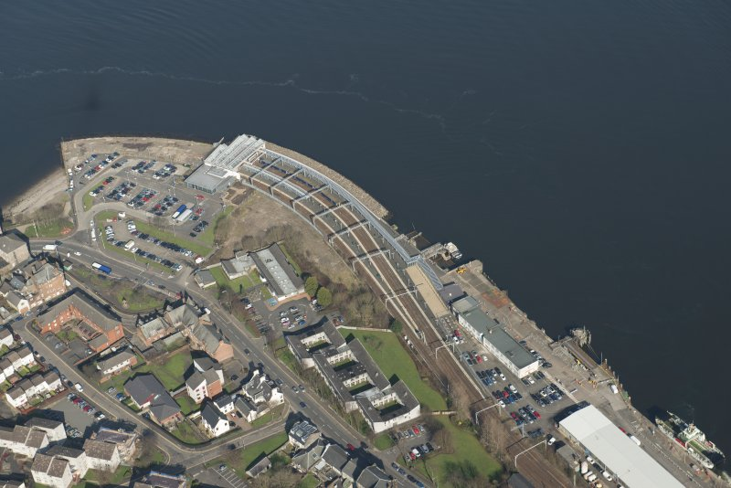 Oblique aerial view of Gourock station and pier, looking to the NNE.
