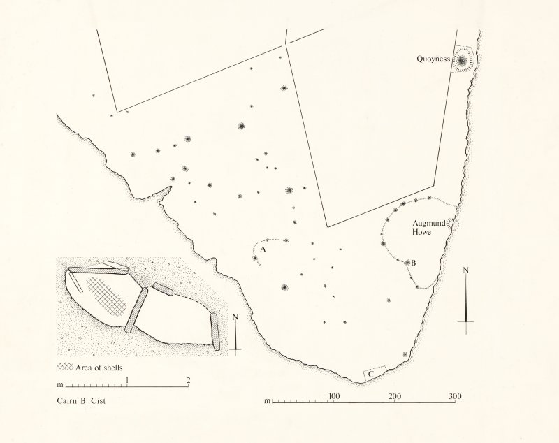 Plan of the Elsness area with detailed plan of cist from cairn B
