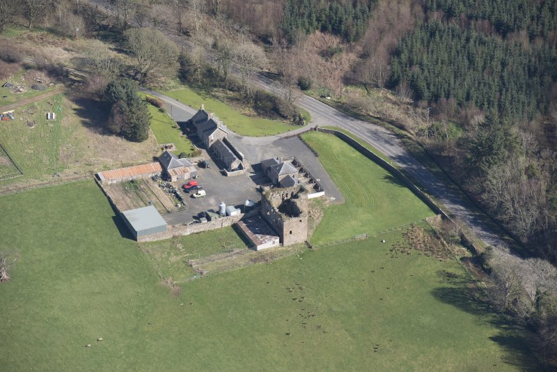 Oblique aerial view of Thomaston Castle, looking ENE.