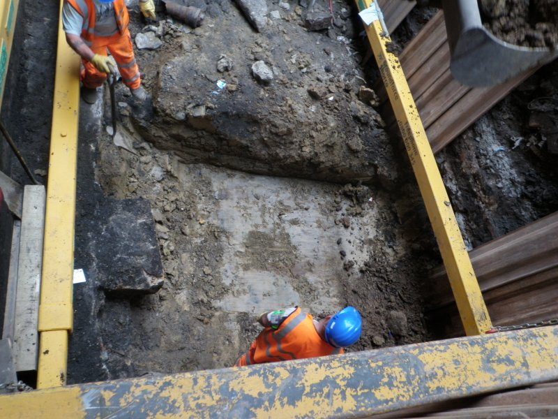 Working shot of excavations through the clay base