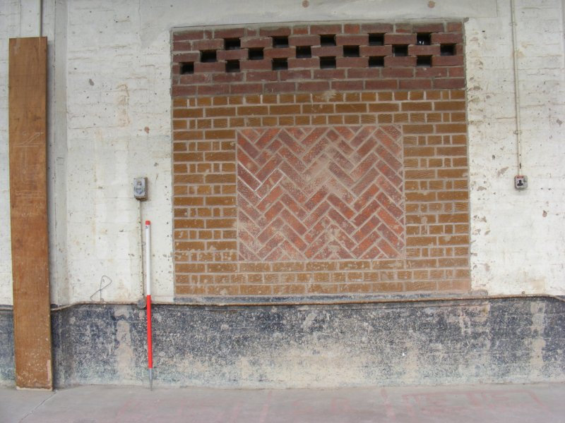 Detail of brickwork on interior N wall of Building 11