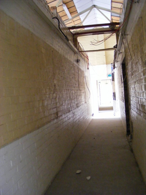 Looking down the corridor of Building 8