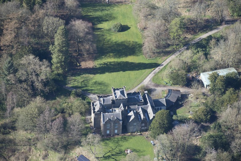 Oblique aerial view of Craufurdland Castle, looking to the NW.