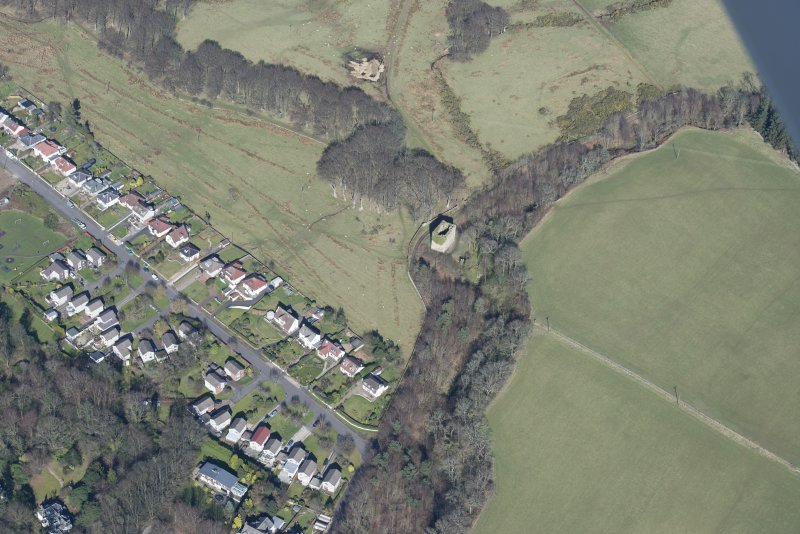 Oblique aerial view of Fairlie Castle, looking to the NE.