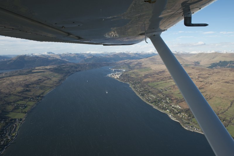 Oblique aerial view of Faslane Naval Base, looking to the N.