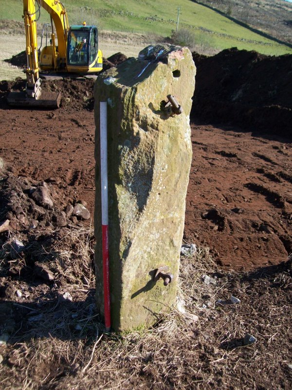 Upstanding gatepost from (011) for watching brief at Barburgh Mill Quarry Extension
