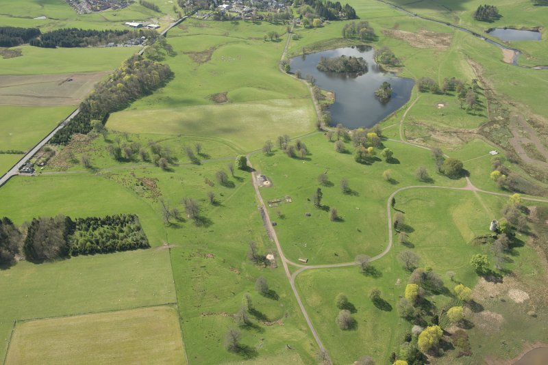 Oblique aerial view of Douglas Castle, looking WNW.