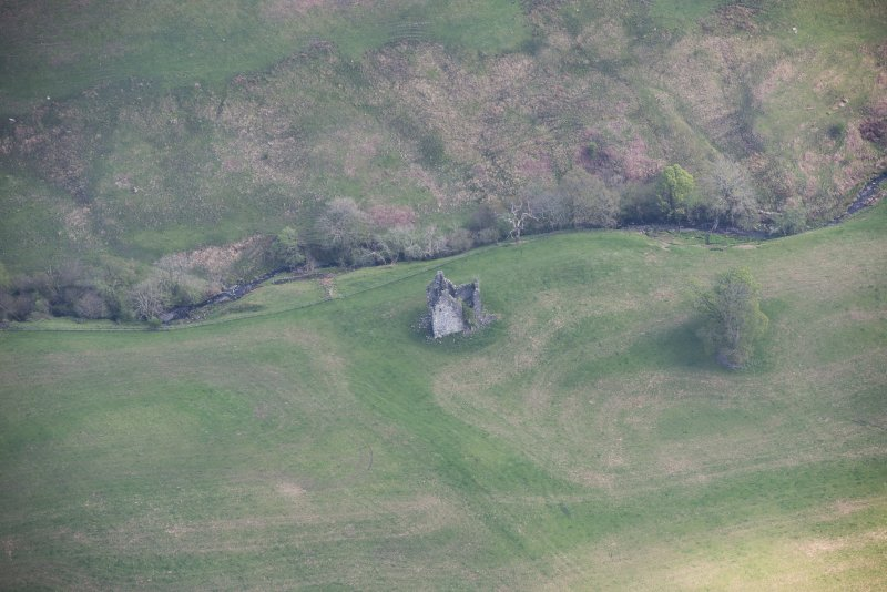 Oblique aerial view of Frenchland Tower House, looking ESE.