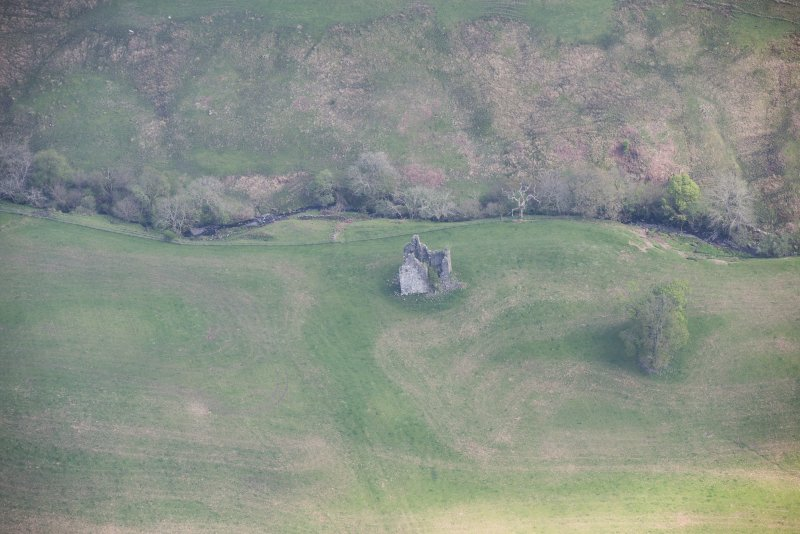 Oblique aerial view of Frenchland Tower House, looking E.