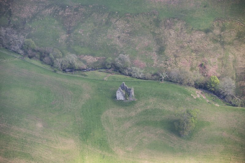 Oblique aerial view of Frenchland Tower House, looking ENE.