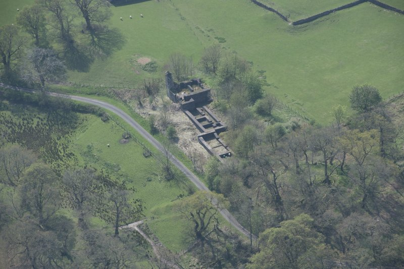 Oblique aerial view of Lochwood Tower, looking SSW.