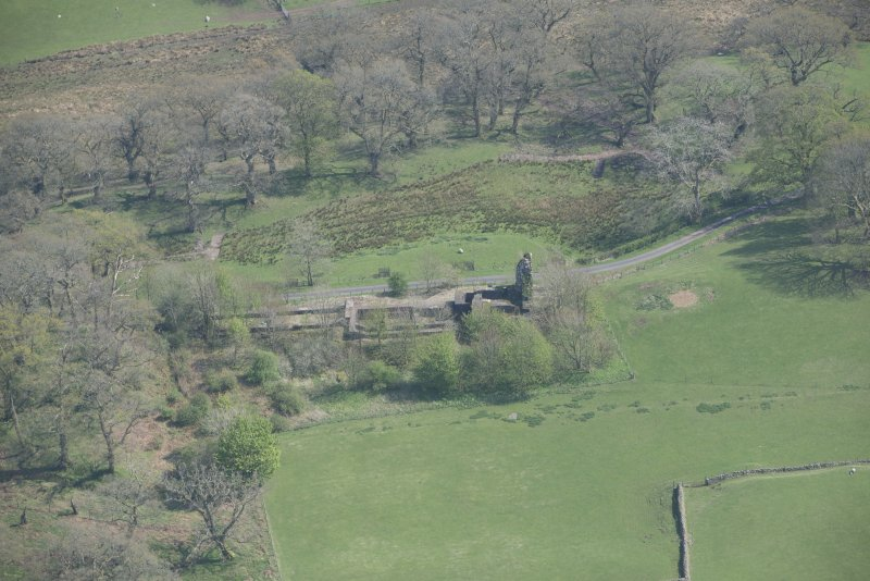 Oblique aerial view of Lochwood Tower, looking ESE.