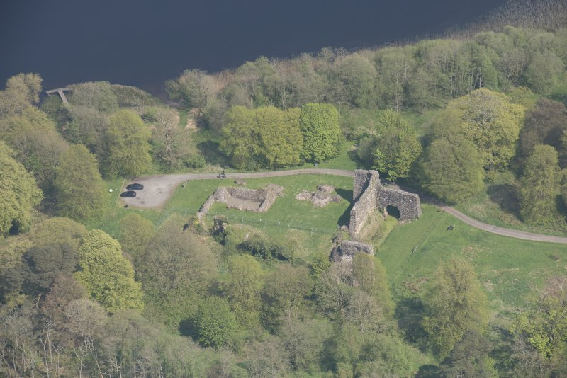 Oblique aerial view of Lochmaben Castle, looking ENE.