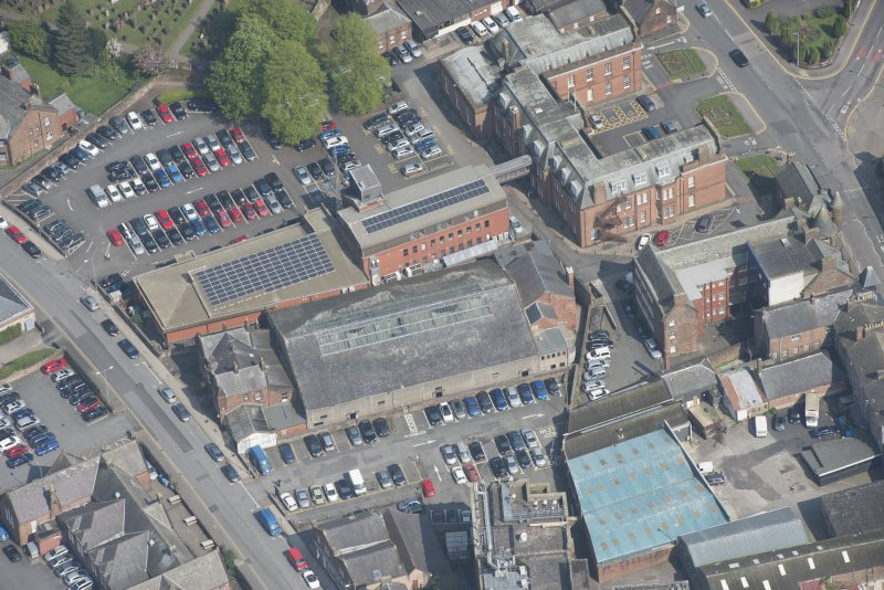 Oblique aerial view of Loreburn Hall Drill Hall, looking ENE.