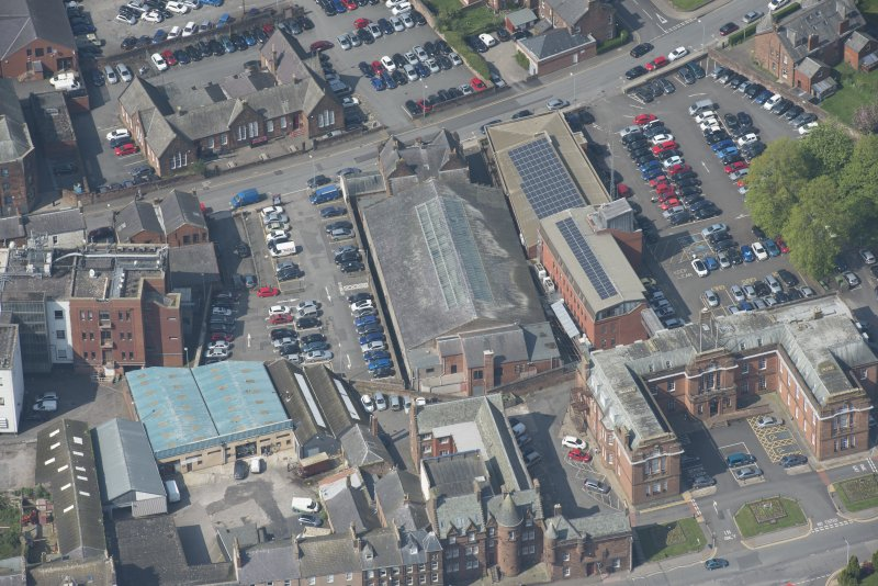 Oblique aerial view of Loreburn Hall Drill Hall, looking N.