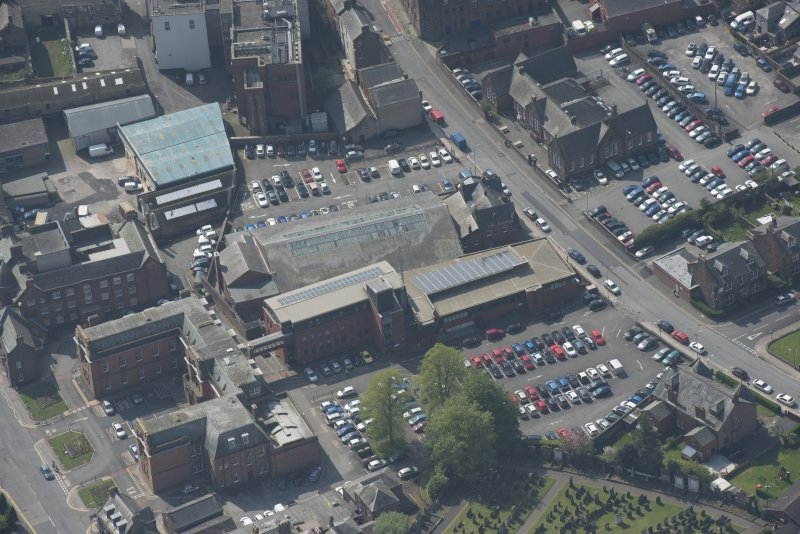 Oblique aerial view of Loreburn Hall Drill Hall, looking WSW.