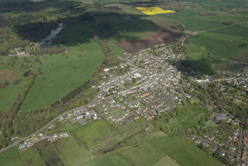 Oblique aerial view of Duns, looking N.
