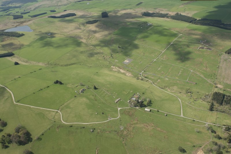 Oblique aerial view of Stobs Camp and practice trench, looking W.
