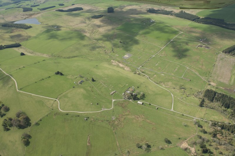 General aerial view of Stobs Camp and practice trenches, looking W.