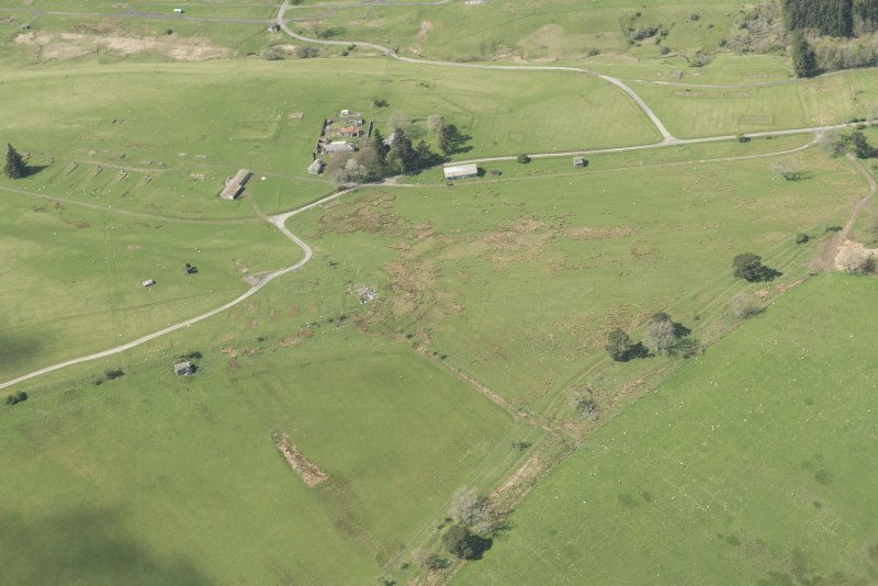 Oblique aerial view of Stobs Camp and trench systems, looking NE.