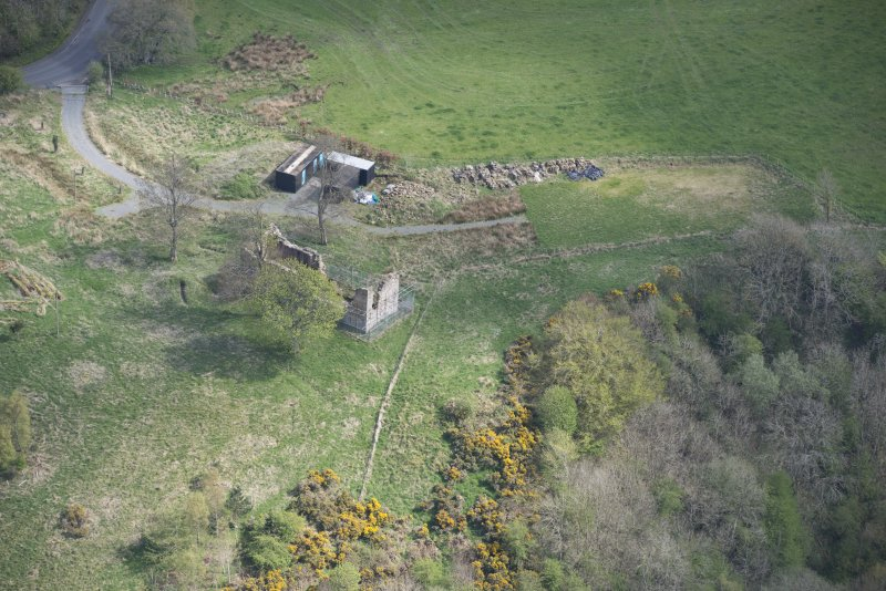 Oblique aerial view of Uttershill Castle, looking SE.
