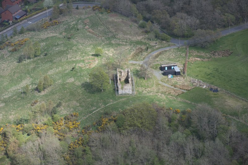 Oblique aerial view of Uttershill Castle, looking ENE.