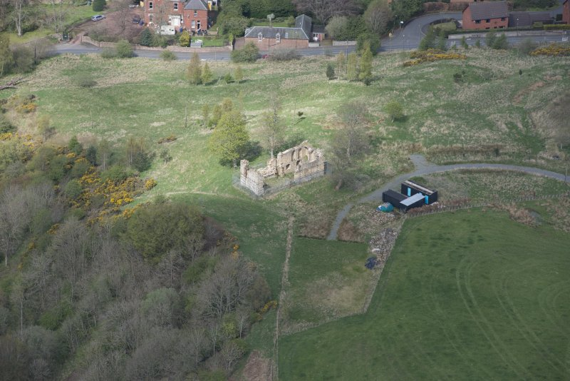 Oblique aerial view of Uttershill Castle, looking NNW.
