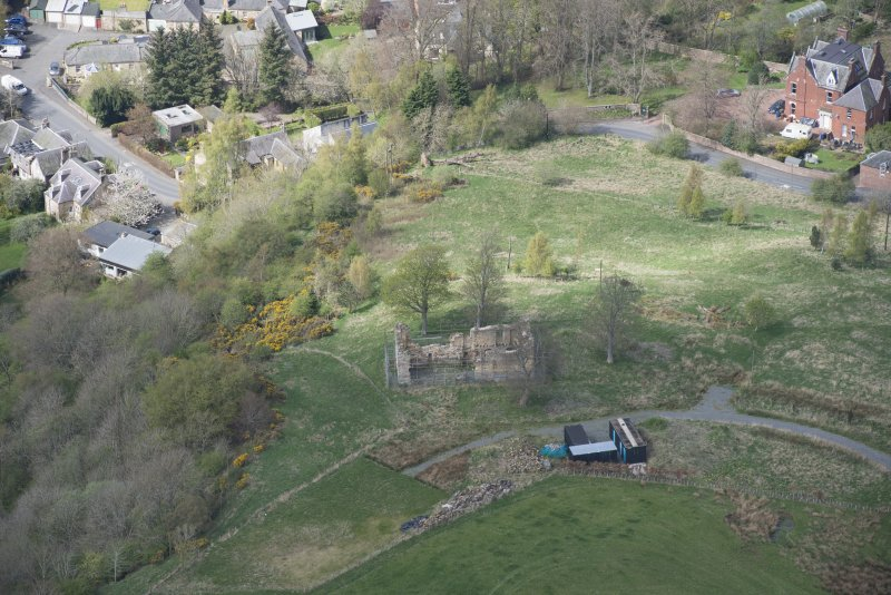 Oblique aerial view of Uttershill Castle, looking NW.