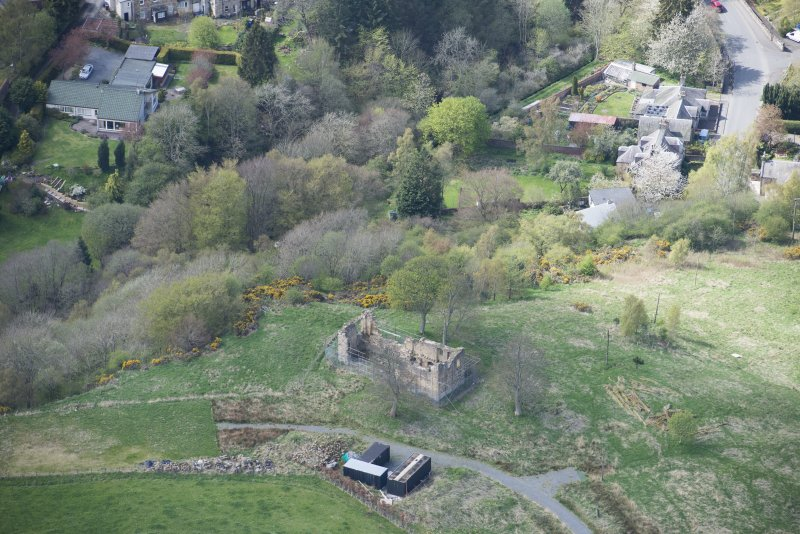 Oblique aerial view of Uttershill Castle, looking W.