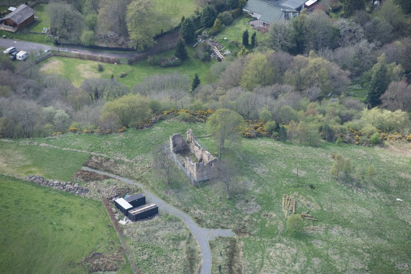 Oblique aerial view of Uttershill Castle, looking WSW.
