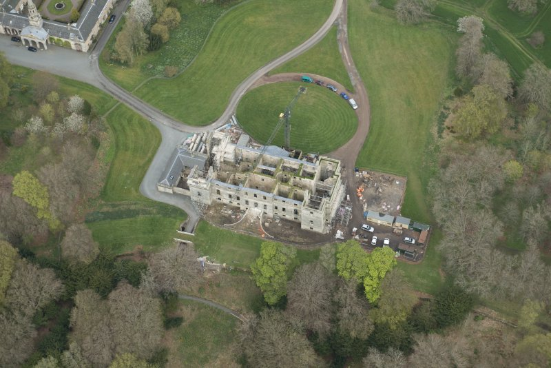 Oblique aerial view of Penicuik House, looking NNE.