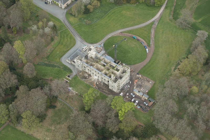 Oblique aerial view of Penicuik House, looking N.