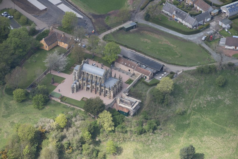 Oblique aerial view of Roslin Chapel, looking NNW.