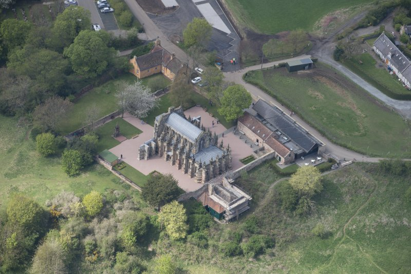 Oblique aerial view of Roslin Chapel, looking NW.