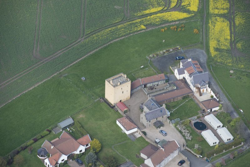 Oblique aerial view of Liberton Tower and Liberton Tower House Farm, looking N.