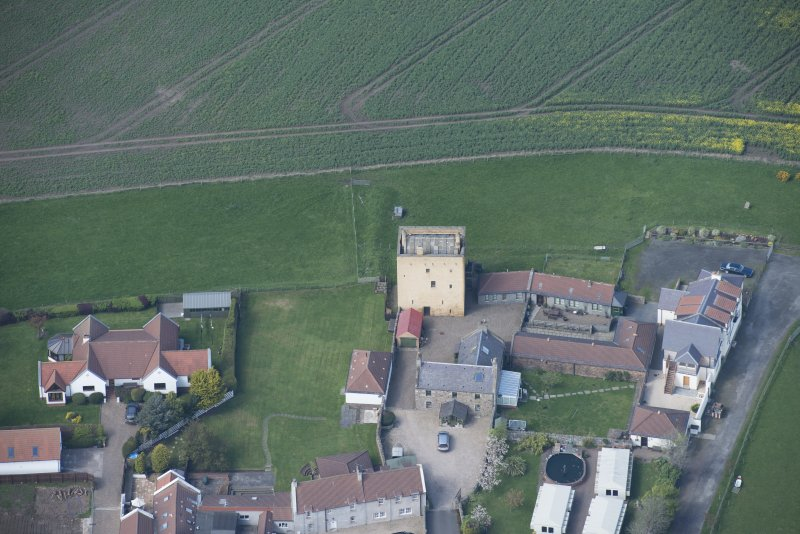 Oblique aerial view of Liberton Tower and Liberton Tower House Farm, looking NNW.