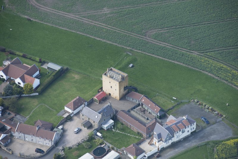 Oblique aerial view of Liberton Tower and Liberton Tower House Farm, looking NW.