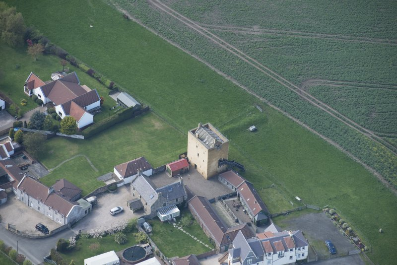 Oblique aerial view of Liberton Tower and Liberton Tower House Farm, looking W.