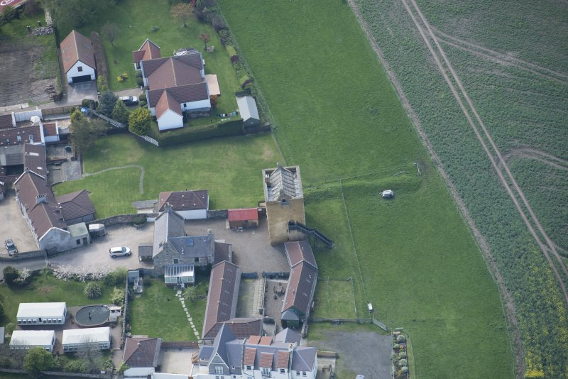 Oblique aerial view of Liberton Tower and Liberton Tower House Farm, looking WSW.