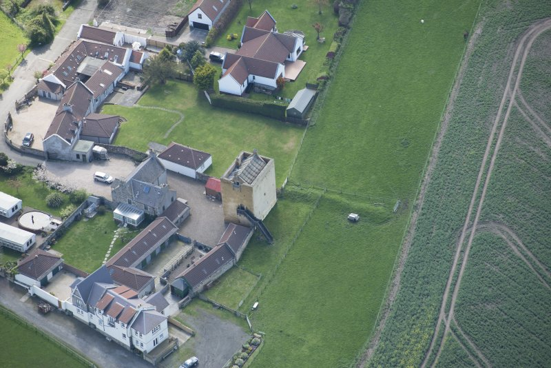 Oblique aerial view of Liberton Tower and Liberton Tower House Farm, lookingg SW.