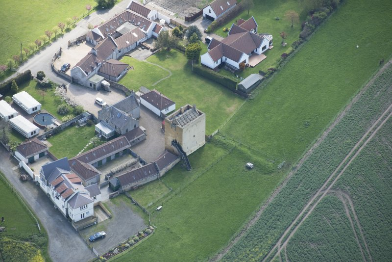 Oblique aerial view of Liberton Tower and Liberton Tower House Farm, looking S.