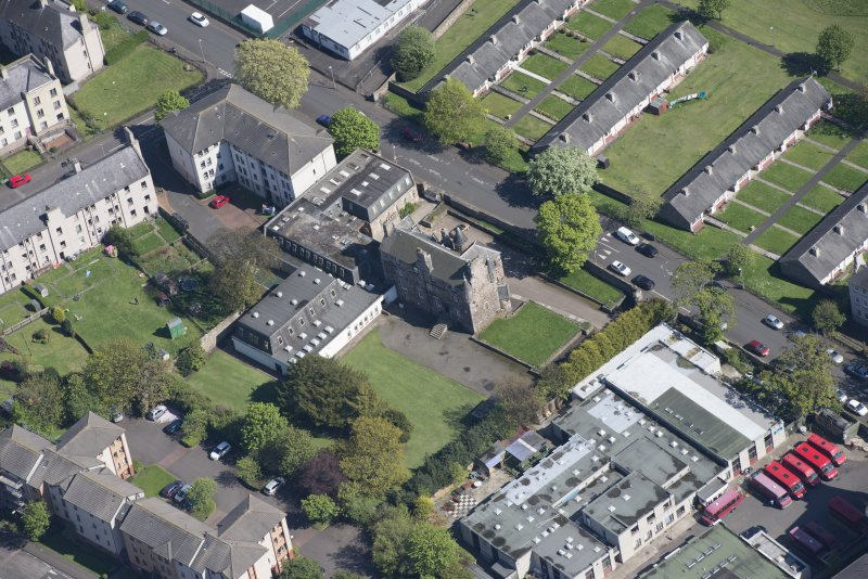 Oblique aerial view of Craigentinny House, looking SE.